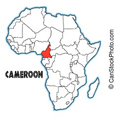 Cameroon outline inset into a map of Africa over a white...