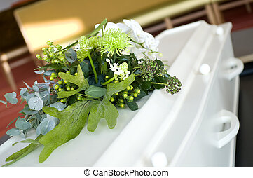 White casket - white casket with flowers