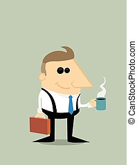 Happy Cartoon businessman with coffee