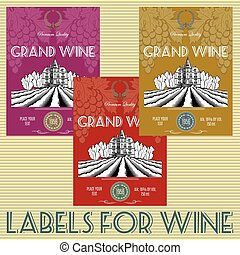 set of labels for wine with grapes