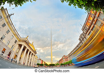 dublin Ireland center symbol - spire - famous landmark in...