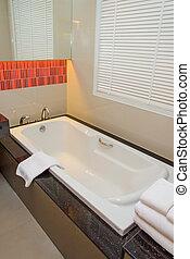 bath tub in luxury bathroom