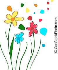 Children Draw Flowers - Abstract Children Draw Bright...