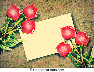 Red roses and Blank white gift card - Valentine Red roses...