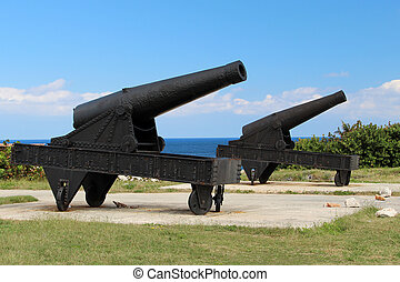 Two cannon - The cannon at the fortress of El Morro in Cuba