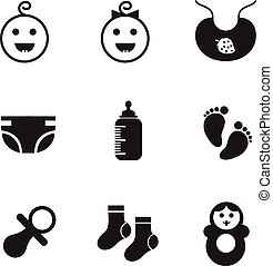 New born baby icons - simple icons on the topic of kids,...