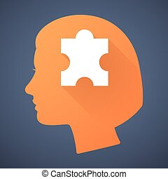 Female head silhouette icon with a puzzle piece