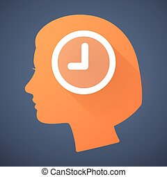 Female head silhouette icon with a clock