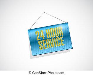 24 hour service hanging banner illustration
