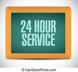24 hour service board sign illustration design