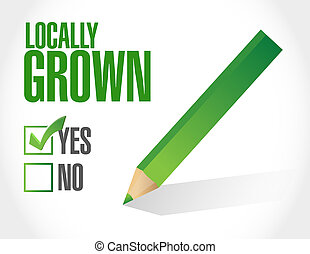 check mark on locally grown illustration design over a white...