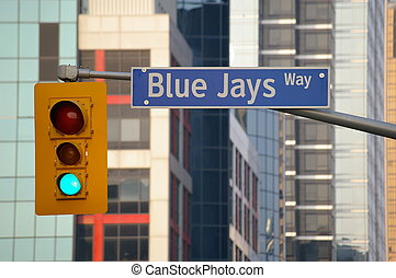 traffic light and street sign with office building in background in northern american city