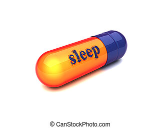 blue capsule sleep made by 3D graphics