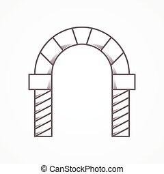 Flat line vector icon for round arch - Flat line vintage...