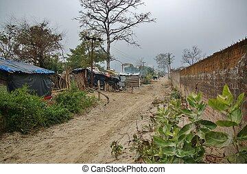 slum of poor people in Rishikesh, India