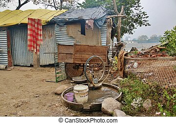 slum of poor people in Rishikesh, India