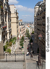 Streets of Paris - Montmartre - Street and stairs in the...