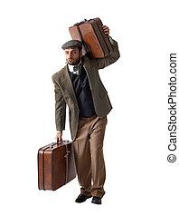 Emigrant, homem, com, a, malas,