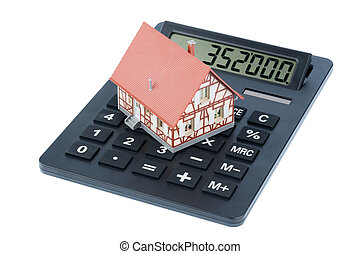 house on calculator - residential building on a calculator,...