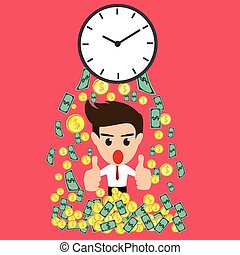 Time is money whit happy businessman