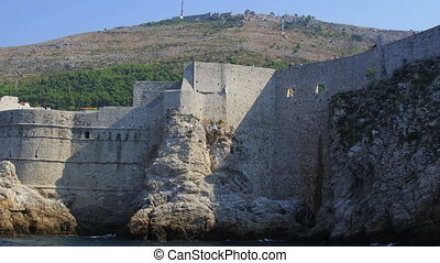 Dubrovnik old town walls detail, Croatia Shoot form a boat -...