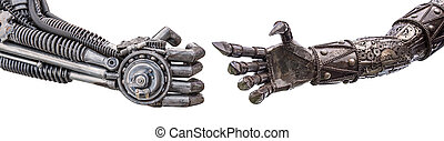 handshake of Metallic cyber or robot made from Mechanical...