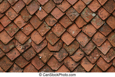 Pattern of old roof tiles