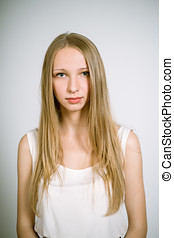 real teenage girl - Portrait of a real young woman on a...