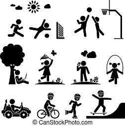 Childhood vector set. - Children play on playground....
