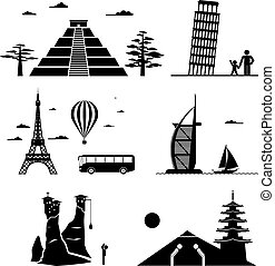 Travel icons - Vector set of famous monuments and travel...