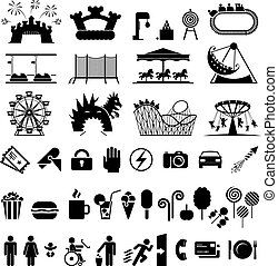 Amusement park icons - Icons set fun and entertainment...
