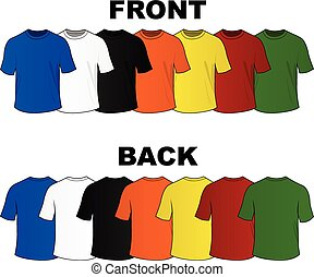 tee shirts - illustration of colorful set of tee shirts