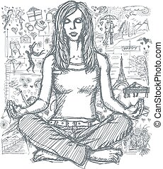 Sketch Woman Meditation In Lotus Pose Against Love Story Background