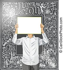 Man With Write Board Against Love Background - Love concept....