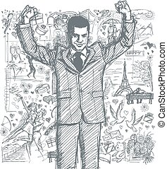 Sketch Businessman With Hands Up Against Love Story...