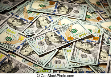 Background of hundred dollars bank notes
