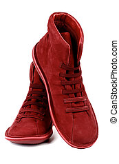 Shammy Boots - Fashionable Ruby Colored Shammy High Shoes...