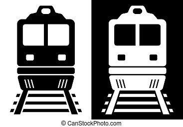 black and white isolated train - set two icon with black and...