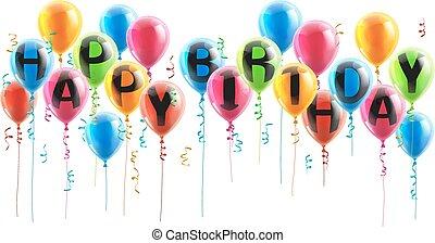 Feliz, aniversário, Partido, balões,