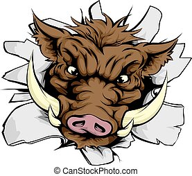 Boar charging through wall - An illustration of a Boar...