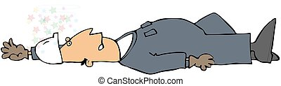 Man Down - This illustration depicts a man in coveralls...