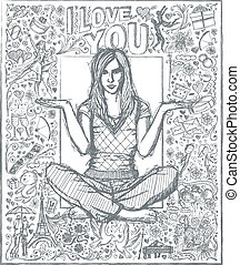 Woman In Lotus Pose Against Love Story Background