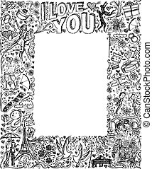 Vector sketch frame background with love story elements,...