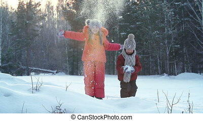 My Snowfall - Two kids joyfully making their own snowfall