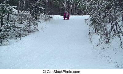 Down the Hill - Two kids sleighing down the hill together