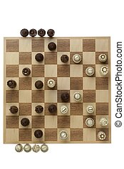 wooden checkers board and pieces