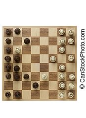 top view image of old chess pieces