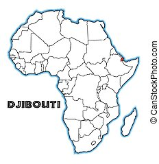 Djibouti outline inset into a map of Africa over a white...