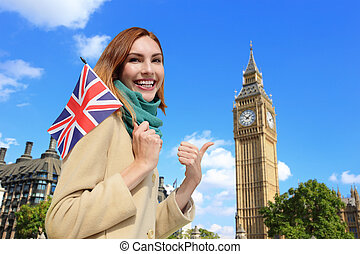happy young travel woman - Happy woman travel in London with...