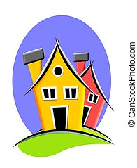 Home icon - Colorful homes icon on blue and white background